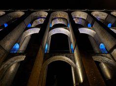 Chaumont Viaduct, France. Lighting design: Jean-François Touchard - Lighting products: iGuzzini illuminazione - Photographed by Didier Boy de la Tour #iGuzzini #Light #Lighting #color