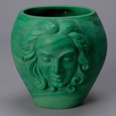 Art Deco Era Bohemian Malachite Glass Vase with Faces  --  Stunning circa 1930s Czech malachite glass vase with a woman's face on two sides.  --   Item:  4797  --  Retail Price:   $2095