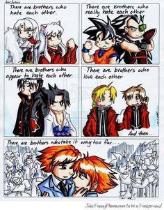 Anime brothers (anime: Inu Yasha, Dragon ball Z, Naruto, Fullmetal Alchemist, Ouran High school Host Club)