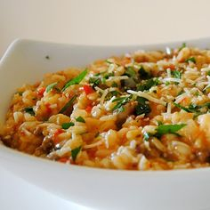 Italian Sausage and Red Pepper Risotto.