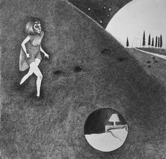 Moon diptych Pencil drawing Illustration