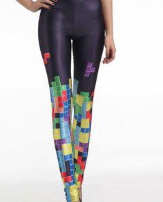 Tetris Colorful Print Black Leggings Digital Print Tight Yoga Leggings