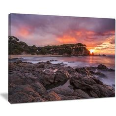 DesignArt Gloomy Seashore with Large Rocks Seashore Photographic Print on Wrapped Canvas Size: