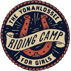 Riding Camp logo by Dan Cassaro Graphic Design Typography, Lettering Design, Graphic Design Illustration, Logo Design, Typography Inspiration, Design Inspiration, Western Logo, Camp Logo, Cool Coasters