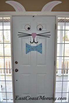 Easter Bunny Door. What better way to welcome people with a door decorated like a bunny? It's easy and inexpensive to do and will please your guest for sure. http://hative.com/creative-easter-party-ideas/