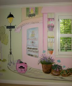 Girl's Room - Tres Chic This mural by Artist, Debbie Cerone, is absolutely intriguing in its detail, colors, and how she was able to integrate the windows into the painting. Playroom Mural, Bedroom Murals, Mural Wall Art, Mural Painting, Bedroom Themes, Bedrooms, Paintings, Paris Rooms, Paris Bedroom