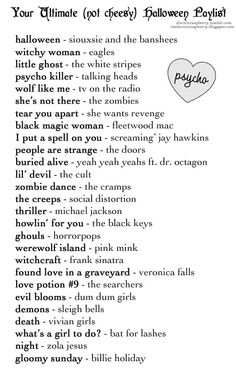 Ultimate (not cheesy) Halloween Playlist