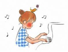 Music Illustration, Woman Illustration, Illustrations, Cartoon Drawings, Drawing Sketches, Drawing Ideas, Drawing Piano, Piano Pictures, Piano Music
