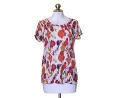 Daisy Fuentes Off White Orange Purple Green Print Artsy Scoop Neck T-Shirt Top L #DaisyFuentes #KnitTop #Casual
