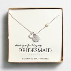 Our Personalized Open Heart Charm Necklaces has a card insert for your bridesmaid, made of honor, etc.  or just as a special gift.