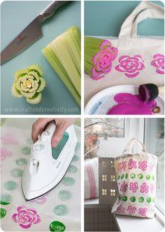 Tygtryck med frukt & grönsaker – Vegetable & fruit prints on fabric (Craft & . - Fabric Craft - Tygtryck med frukt & grönsaker – Vegetable & fruit prints on fabric (Craft & Creativity) – - Diy Arts And Crafts, Diy Crafts, Diy For Kids, Crafts For Kids, Vegetable Prints, Fabric Stamping, Fruit Print, Mothers Day Crafts, Tampons