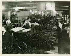 Press Division, Main Pressroom. Flatbed presses, mid-1930s - Women worked in the pressroom as press feeders from very  early in GPO's history.