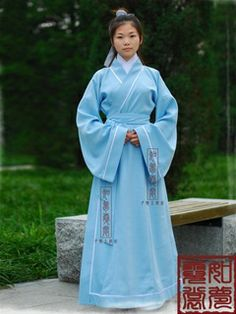 Women's Blue Straight hem dress Shang Dynasty Hanfu Clothing