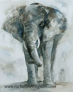 Elephant painting / Large Elephant art PRINT(11 x14 Elephant PRINT ) toddler wall art in gray grey blue brown - $25.00