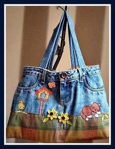 Denim Bag from old jeans Artisanats Denim, Denim Purse, Jean Crafts, Denim Crafts, Jean Purses, Purses And Bags, Bag Quilt, Mochila Jeans, Denim Ideas