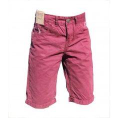 BermudaBordeaux - Bouton + zip - taille ajustable - 2 poches avant - 2 poches arriere - Marque Ebound - 100% coton