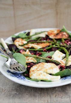British Asparagus, spinach, beetroot and halloumi salad - Ren Behan Food | renbehan.com