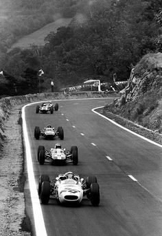 itsawheelthing:    the racing line …Richie Ginther (Honda RA272) leading Mike Spence (Lotus-Climax 33), Chris Amon (Lotus-BRM 25), 1965 French Grand Prix, Clermont Ferrand
