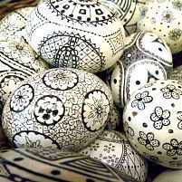 Easter eggs made with a Sharpie pen. 1.  The first thing you do is hollow out some eggs.  Just put a small hole in both sides.  Insert a toothpick to scramble the egg some.  That will make it easier to blow out.
