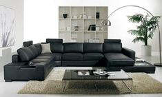 Cozy Black Leather Sofas For Elegant Living Room : Elegant Black Leather Sectional Sofa Design Integrated with Small Coffee Table for Stylish Look Living Room Design Sofa Set Designs, Sofa Design, Black Leather Sofas, Leather Sectional, Bonded Leather, Black Sectional, Modern Sectional, Modern Sofa, Leather Seats