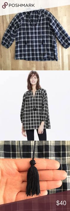 Madewell Plaid Peasant Top Navy and white plaid peasant top with tassels. Tassels are a little frayed (see photo) Madewell Tops Blouses
