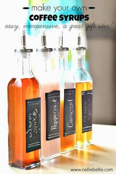 A set of home-made coffee syrups, such as these from Nellie Bellie, would make a glorious gift for a coffee lover (such as myself, nudge nudge...). Via Nellie Bellie.