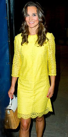 Lacy yellow dress on Pippa Middleton: People.com