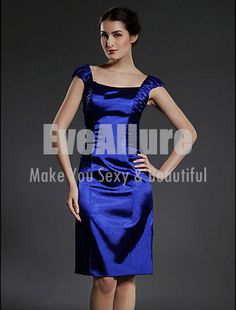 Sheath/Column Square Knee-length Capped Elastic Woven Satin Mother of the Bride Dress - EveAllure