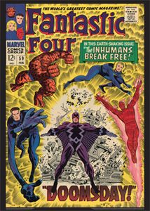 FANTASTIC FOUR #59 (February 1967) Vintage Marvel Comics Cover Poster Reprint -  available at www.sportsposterwarehouse.com