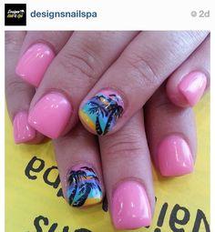 pink sunset nails #summer #nails