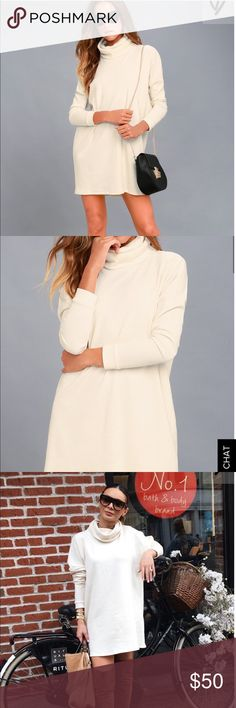 Lulus cream long sleeve dress Never worn dress, fits big which is why I'm selling. Lulu's Dresses Long Sleeve