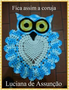[Photo Tutorial] Beautiful Crochet Owl Rug (Bathroom Set)- With A Twist! - Page 2 of 4 - Knit And Crochet Daily Crochet Owls, Crochet Home, Crochet Crafts, Crochet Projects, Knit Crochet, Free Crochet, Crochet Dishcloths, Crochet Doilies, Crochet Stitches