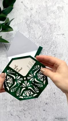 #velvet invitation with carousel action and envelope with tassel