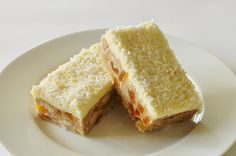 apricot fudge slice with lemon topping