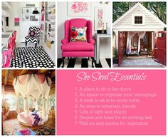 Shed DIY - Men crave a man cave, but shed prefer a sunny little shed ~ DML Super cute She Shed ideas! Now You Can Build ANY Shed In A Weekend Even If You've Zero Woodworking Experience! Girl Cave, Woman Cave, Babe Cave, Shed Decor, Room Decor, Shed Storage, Storage Spaces, Shed Office, White Laundry Rooms