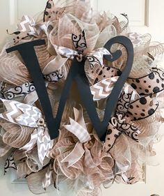 Excited to share the latest addition to my #etsy shop: Deco mesh door wreath, Neutral Deco Mesh, All Season Door Hanger, front door wreath, initial door decor, wedding decoration, gift, home deco http://etsy.me/2DOEhYM #housewares #homedecor #beige #white #housewarming