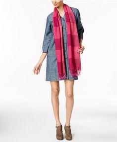 118.00$  Buy now - http://vipkk.justgood.pw/vig/item.php?t=efg7hm54265 - Eileen Fisher Striped Fringe Scarf & Split-Neck Shirtdress