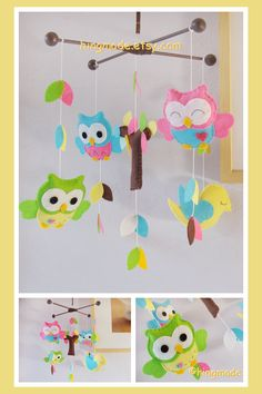 Baby Crib Mobile - Felt Mobile - Owl Mobile - Hot Pink Ocean Blue Lime Green Pastel Yellow Owls Bird in tree top (Custom Color Available)
