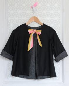 Girls Handmade Jacket With Silk Bow | MissdeMars on Etsy