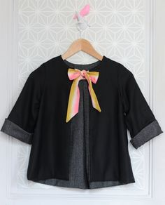 Girls Handmade Jacket With Silk Bow | MissdeMars on Etsy