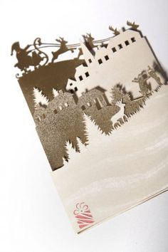 Paper Cutting Christmas Card: Santa Claus is Coming to Town