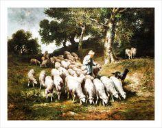 Tablouri louis robbe schafherde in hügeliger landschaft | Tablouri celebre,p384 | tablouri canvas online