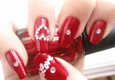 "Nail Art - Red with white ""Love"", ""Heart"" and Bling"