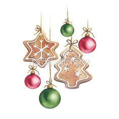 Watercolor Christmas gingerbread cookies a star and a Christmas tree with Christmas balls red and green. Decoration elements — Стоковое изображение #89777064