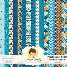 Pacote papel digital - Mediterranean - Armazem Criativo