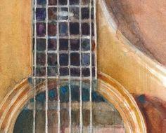 Taylor Acoustic Guitar - Square Guitar Print from Original Watercolor Painting Vango Art, Yamaha Acoustic Guitar, Friends Like Family, 12 Image, Free Prints, Artist At Work, Watercolor Paintings, Watercolors, Fine Art Prints