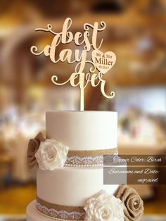 Best Day Ever Wedding Cake Topper. Mr Mrs and Custom Surname engraved. Zombie Wedding Cakes, Fall Wedding Cakes, Elegant Wedding Cakes, The Knot, Wedding Cake Prices, Wedding Cake Designs, Wedding Ideas, Wedding Decorations, Wedding Vows
