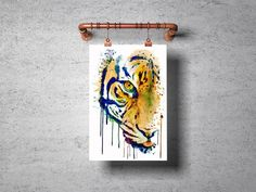 #HalfFace #TigerPainting #WatercolorAnimals #InstantDownload #BigCats #Wildlife Wild Life, Watercolor Portraits, Watercolor Paintings, Tiger Poster, Dog Paintings, Tiger Head, Printing Services, Pet Portraits, Printable Wall Art