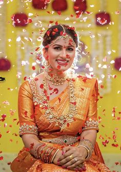 Looking for Bridal portrait idea for south indian bride with petal shower? Browse of latest bridal photos, lehenga & jewelry designs, decor ideas, etc. on WedMeGood Gallery. Indian Wedding Photography Poses, Bride Photography, Wedding Poses, Saree Wedding, Wedding Photoshoot, Wedding Bride, Bridal Sarees, Wedding Shoot, Photography Ideas
