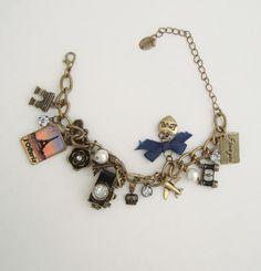 Claire's Travel Charm Bracelet Camera Binoculars Bicycle Airplane Jewelry
